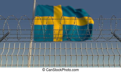 Barbed wire against waving flag of Sweden. Loopable 3D...