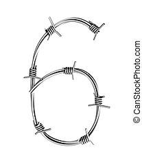 Barbed wire alphabet, 6