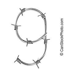 Barbed wire alphabet, 9