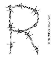 Barbed wire alphabet, R