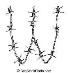 Barbed wire alphabet, W