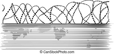 barbed wire and fence