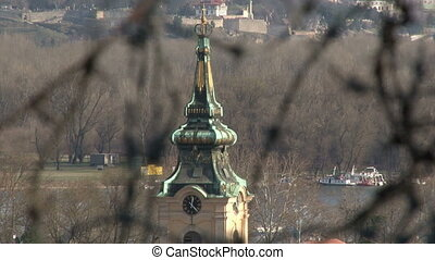 Barbed wire, Belgrade, tower, Kalemegdan in background...