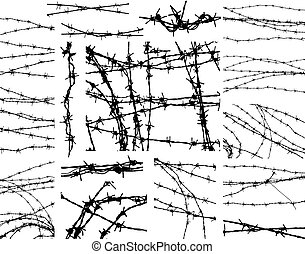 Barbed wire elements - Selection of outlines of barbed wire