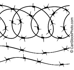 Barbed Wire elements, silhouette on white background. vector...