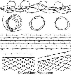 Barbed wire elements - Some barbed wire elements with fence ...