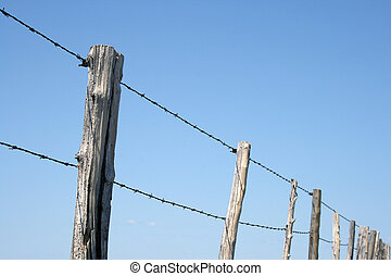 Barbed wire farm fence against blue sky - Old wooden posts...