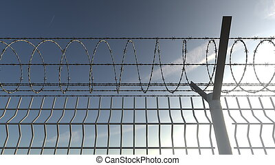 Barbed wire fence against blue sky, 3D rendering - Barbed ...