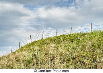 barbed wire fence in Nebraska Sandhills