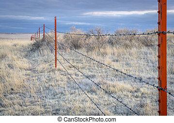 Barbed wire fence in Pawnee Grassland