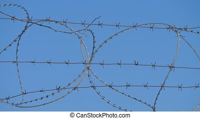 Barbed wire fence of restricted area, the boundary. illegal immigration concept lifestyle
