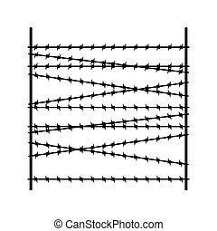 Barbed wire fence segment. Security Fencing Template. Vector illustration