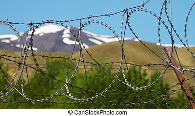 Barbed wire fences and mountains