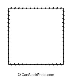 Barbed wire frame. Barb cadre Prison border. Vector illustration