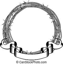 barbed wire frame - Vector illustration frame of barbed wire...