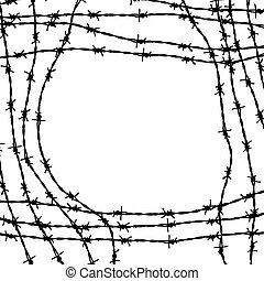 Frame made from barbed wires