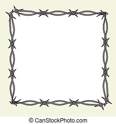Barbed wire frame - This image is a vector illustration and...