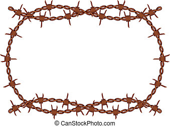 barbed wire frame vector - vector old rusty barbed wire...