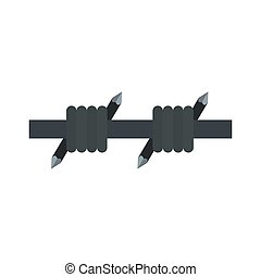 Barbed wire icon, flat style