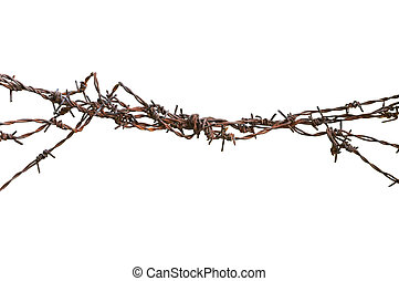 Barbed wire macro closeup, old aged detailed weathered...
