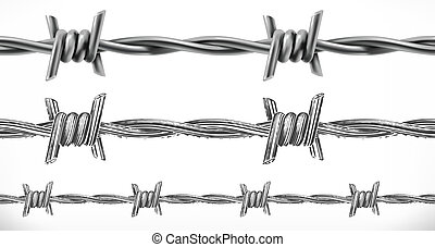 Barbed wire seamless. 3d and engraving styles. Vector illustration