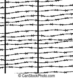 Barbed wire, silhouette for design on white background,