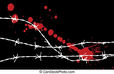 barbed wire silhouette with some spots