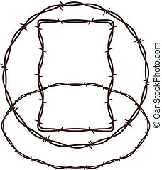 Small collection of three barbed wire frames