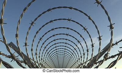 Barbed wire spiral tunnel, seamless loop - Barbed wire fence...
