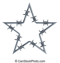 barbed wire star-shaped 3d rendering