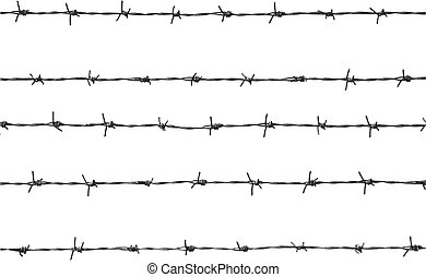 barbed wire - Vector illustration of five pieces of barbed...