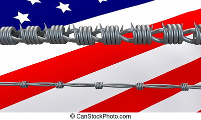 Barbed wires against American flag - Animation of barbed ...