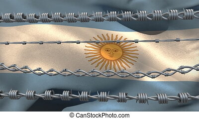 Barbed wires against Argentina flag - Animation of barbed ...