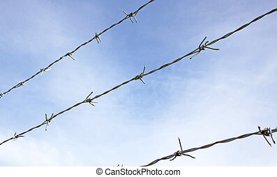 barbed wires against blue sky