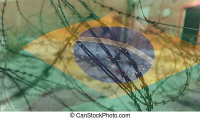 Barbed wires against Brazil flag - Animation of barbed wire ...