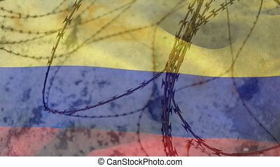 Barbed wires against Columbia flag - Animation of barbed ...