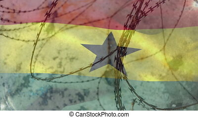 Animation of barbed wire over national flag of Ghana waving. Covid 19 coronavirus pandemic travel restrictions digital composite.