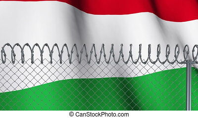 Barbed wires against Hungary flag - Animation of barbed wire...