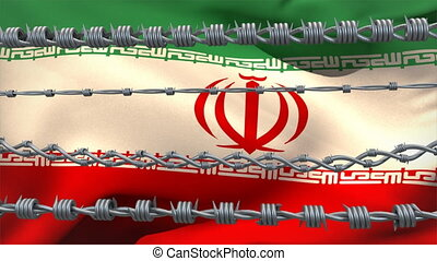 Barbed wires against Iran flag - Animation of barbed wire ...