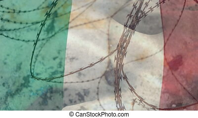 Barbed wires against Italy Republic flag - Animation of ...
