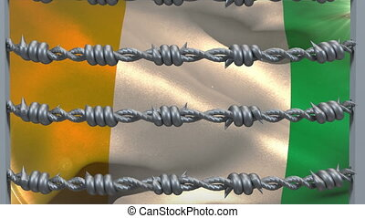 Barbed wires against Ivory Coast flag - Animation of barbed ...