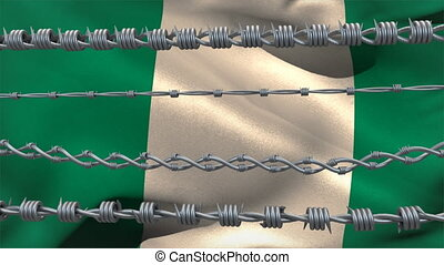 Barbed wires against Nigeria flag - Animation of barbed wire...