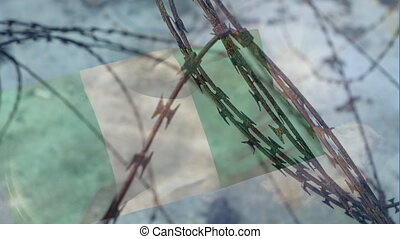 Barbed wires against Nigeria Republic flag - Animation of ...