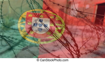 Barbed wires against Portugal flag - Animation of barbed ...