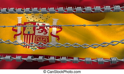 Barbed wires against Spain flag