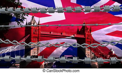 Digital composite video of four barbed wires over UK cityscapes against UK waving flag in background. Covid 19 coronavirus pandemic travel restrictions concept