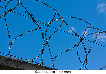 Barbed wires and blue sky