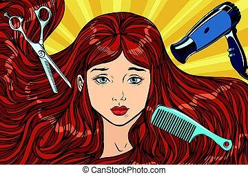 barbeiro, concept., a, menina, com, cabelo longo