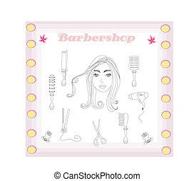 barbeiro, jogo, cabeleireiras, doodle