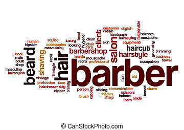 barbeiro, palavra, nuvem